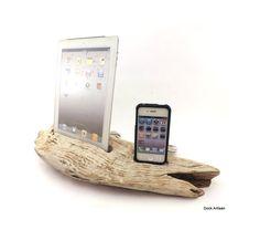 iPhone 4 Dock with iPad Stand in Driftwood
