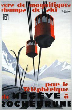 Telepherique de Megeve a Rochebrune vintage skiing art poster from Enjoy Art. Ski Vintage, Vintage Ski Posters, Vintage Prints, French Vintage, Vintage Art, Retro Posters, Vintage Signs, Vintage Photos, Travel Posters