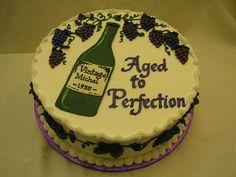 Aged To Perfection Cake. This would be a great cake idea for my up coming birthday. Birthday Cake Wine, 60th Birthday Cakes, Birthday Ideas, Dad Cake, 50th Cake, Bottle Cake, Crazy Cookies, Birthday Cake Decorating, Creative Cakes