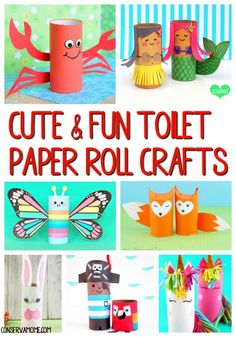 This fun round up of 20 Cute & Fun Toilet Paper Roll Crafts will be a great a great addition to a fun summer schedule or just because craft time.  #toiletpaperrollcrafts #paperrollcrafts #craftsforkids
