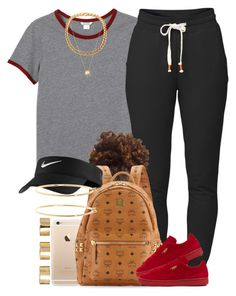 """Red & Gray ❕❗️"" by livelifefreelyy ❤ liked on Polyvore featuring Monki, Lija, MCM, Puma, NIKE, Brooks Brothers, Joolz by Martha Calvo and ASOS"