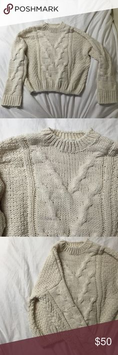 J.O.A Cableknit Sweater Cableknit, cream color, 100% polyester, size Medium. Extremely soft and warm! Perfect for winter days. BRAND NEW, worn once and washed once. Nasty Gal Sweaters Crew & Scoop Necks