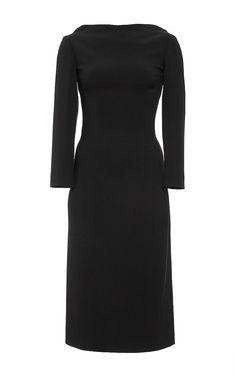 Black Longsleeve Wool Midi Dress