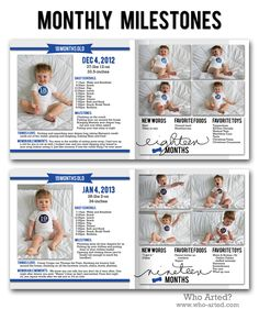 Record monthly milestones in your baby book! Include photos, memories, schedules, favorite toys and foods. Adorable!