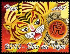 The Year of the Tiger Peru, 2010 Year Of The Tiger, Postage Stamp Art, Love Stamps, China Art, Small Art, Folk, Stamp Collecting, Cat Art, Illustration