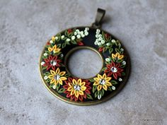 Elegant Polymer Clay Floral Applique Donut by charancreations