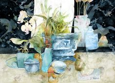 Blue Still Life with Black Screens -   Watercolour & Graphite Pencil 38 x 53 cm - SOLD