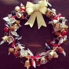 Here's how you can use Nespresso capsules for various fun and unique festive crafts to decorate your home. Festive Crafts, Dyi Crafts, Xmas Crafts, Christmas Projects, Xmas Wreaths, Christmas Decorations, Noel Christmas, Christmas Ornaments, 242