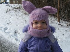 Bunnyclava is a balaclava worked in the round from the bottom up. The mouth covering (which can also be tucked under the chin) is shaped with short rows, and paired increases and decreases over the forehead shape the eyehole for maximum coverage. The ears are picked up and knitted after the rest of the hat is complete.