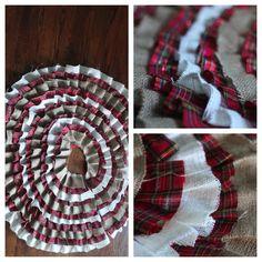 Ruffled Tree Skirt- Plaid and Burlap- Custom Tree Skirt. $60.00, via Etsy.