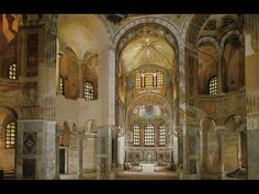 Interior of San Vitale, Ravenna Italy 526 - 547, ambulatory plan, unknown architect, octagonal plan, columns have different orders, proportions no longer use obsession with perfection, inside is made for spiritual not functional use, icons