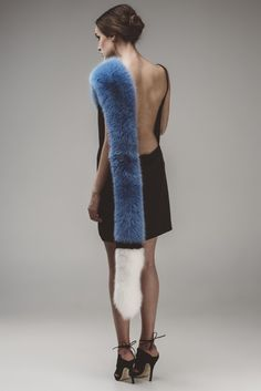 Blue white and black fox fur scarf from the 5th Story AW/15 collection
