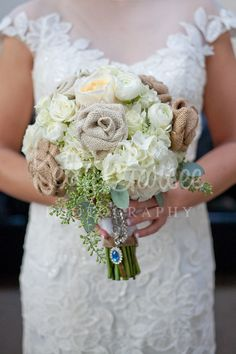 Burlap rose bouquet photo by: Kelly Garsee Photography