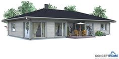 Small affordable house plan, three bedrooms, open planning, logical floor layout.