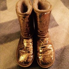 GOLD GLITTER UGGS These are brand new, 100% perfect condition, only tried on a few times indoors. Totally perfect but without the box UGG Shoes Winter & Rain Boots