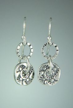09d69a951 Sherry Tinsman, Metal Smith · 6st 164 - Sterling Silver Spinny Disc Earrings  on Silver Ear Wires. Handmade Sterling Silver