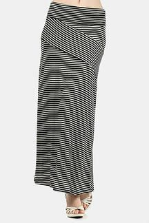Cinnaryn Freeloader Twisted Stripe Long Maxi Skirt in Black and White (Adjustable Length) $32