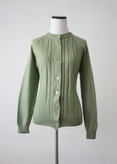 vintage sage green cardigan