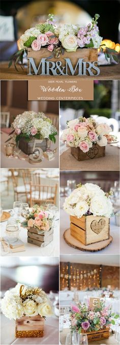 Rustic country wooden box wedding centerpieces / http://www.deerpearlflowers.com/wedding-centerpiece-ideas/2/