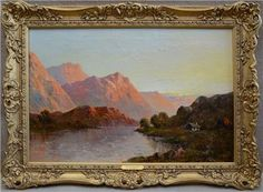 In the Trossachs Loch Etive British artist Francis E Jamieson Signed This is a spectacular Scottish Highland landscape oil on canvas of sunset In the Scottish Highlands, Oil On Canvas, British, Fine Art, Landscape, Signs, Antiques, Prints, Painting