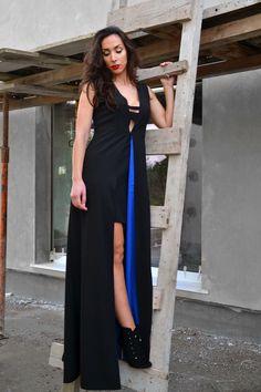 "Raquel Baptista ""Mind, Body & Soul"" Lookbook - Look15: Black Contrast Gown with Spli Skirt!"