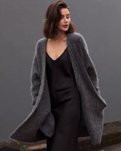 Oversized grey Acne knit + Black slip dress You May Also LikeWhat's HOT Look Fashion, Winter Fashion, Fashion Outfits, Womens Fashion, Fashion Trends, Fashion Ideas, Casual Outfits, Net Fashion, Fashion 2016