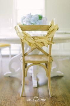 DIY Chair Garland: http://www.stylemepretty.com/2014/08/14/10-more-of-our-fave-wedding-diys/