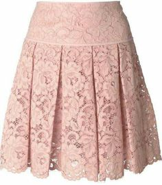 Blush pink cotton blend pleated lace mini skirt from DKNY featuring a high waist, a pleated design, a floral lace pattern, a concealed fastening and a scallope… Lace Mini Skirts, Pleated Skirt, Dress Skirt, Lace Skirt, Waist Skirt, Vetements Clothing, Outfit Trends, Mode Style, Skirt Outfits