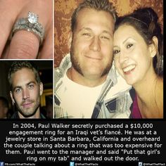 Paul Walker secretly purchased a $10,000 engagement ring for an Iraqi vet's fiancé....!
