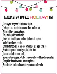 Random Acts Of Kindness Holiday List