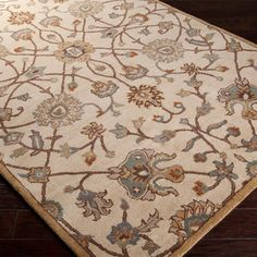 "World Menagerie Topaz Beige Floral Area Rug Rug Size: Runner 2'6"" x 8'"