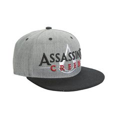 23b1eb2ce71 Grey   black snapback hat from Assassin s Creed with an embroidered logo  design on front. Hooded assassin logo embroidered on back.