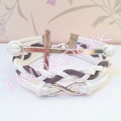 Infinity Bracelet-Cross Bracelet.White Wax Cords and Gray Braid bracelet.Popular Gift. $7.99, via Etsy.