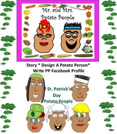 """Your class should be inspired after reading the picture book """"Edgar Potato"""" by Don Oilckle, a story about self-actualization, tolerance, and resilience. All parts and directions included for building potato people either as a cut and paste paper or computer activity. Students complete a """"personal profile"""" for their potato character.Gr. K-4"""