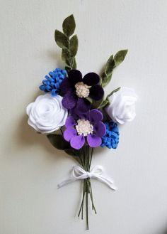 Blue and Purple Wildflower Bouquet / Felt Flower by ThreadandHeart