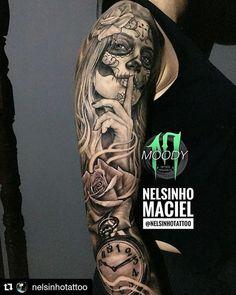 Full sleeve Catrina made by @nelsinhotattoo... awesome job using awesome products!  @pedradatattoopalace  @pedradatattoosupplies  @moodytattooproducts  #portugaltattoo #costadacaparica  #pedradatattoopalace  #skinartmag #bnginksociety #amazingink #skinart #tattooculture #tatuajes #ink #inkwork #tattoobrasil  #tatuagem  #inkedmag  #tattoolifemagazine #inkedmagazine #tattooed #blackandgrey #tattooartist #blackandwhite #tattoo #tattooistartmag #tattooed #tattoolove #inkedlife #pretoecinza…