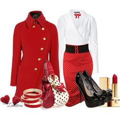 """""""Pin up Retro Red outfit"""" by leilani-almazan on Polyvore"""