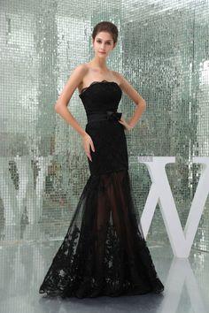 ribbon mermaid lace strapless bowknot prom dress - Gindress.co.uk