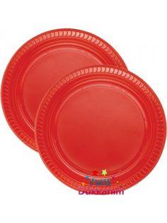 Kırmızı Plastik Tabak Lüks (25 adet)