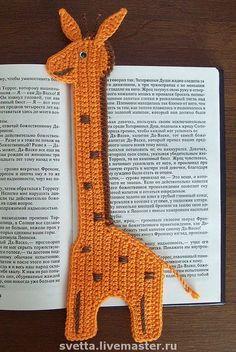 045 Giraffe Bookmark or decor pattern by LittleOwlsHut Filet Crochet, Crochet Motif, Crochet Flowers, Crochet Stitches, Crochet Bookmark Pattern, Crochet Bookmarks, Crochet Gifts, Crochet Toys, Knit Crochet