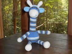 blue and gray giraffe stuffed animal toy by HomespunAccessories, $25.00