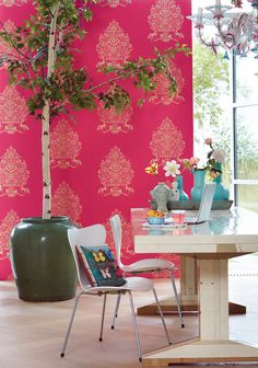 Beautiful President wallpaper pattern by Pip in a lovely bold raspberry colourway.