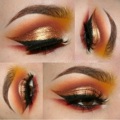 Stunning warm gold & orange eye look by makeupmouse on insta!