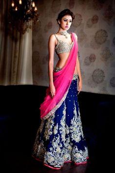 Beautiful deep royal blue velvet lehenga skirt with fuchsia-pink dupatta