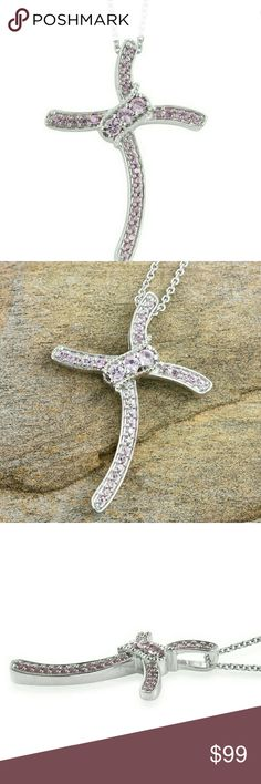 Madagascar Pink Sapphire Platinum over Sterling Madagascar Pink Sapphire Platinum over Sterling Silver Cross Pendant Necklace with Chain 20 inches TGW 0.80  This stunning Necklace has an estimated retail value of 299.99  Metal- 925 S White Silver Product Weight grams- 4.500 Gemstone Count- 31 Total Stone weight carat- 0.800 Gemstone 1- Madagascar Pink Sapphire round 2.75 Single cut Gemstone Count 1- 3 Gemstone Weight 1- 0.300 Gemstone 2- Madagascar Pink Sapphire round 1.5 Brilliant cut…