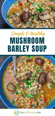 This Mushroom Barley Soup is a comfort food that is perfect for fall! This soup is packed with flavor, easy to make and is healthy for your family. Try it today for a weeknight meal everyone will love. Vegetarian Recipes Easy, Good Healthy Recipes, Clean Eating Recipes, Great Recipes, Vegetarian Barley Soup, Mushroom Barley Soup, Healthy Comfort Food, Healthy Meals For Kids, Easy Healthy Dinners