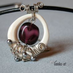 AUGUST SALE!!! -Wire wrapped bone pendant decorated with purple glass bead- Use coupon code SALE20