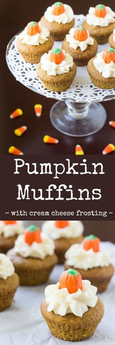 These are the soft and sweet Pumpkin Muffins I grew up with, my mom's fabulous, no-fuss recipe! They are so decadent topped with cream cheese frosting.