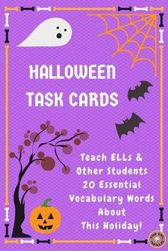 These task cards include 20 common vocab words that symbolize Halloween, come in 3 different versions for varying levels of language ability & include black-and-white versions for all three sets of task cards. Answer sheets for students & an answer key for teachers are included.