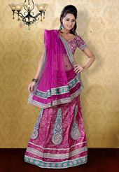 Rani Pink Net Lehenga Choli With Dupatta Net Lehenga, Lehenga Choli, Sari, Indian Festivals, Pink Art, Festival Wear, Sequins, How To Wear, Stuff To Buy
